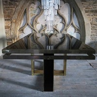 Brass and Black Glass Table, circa 1970, Italy