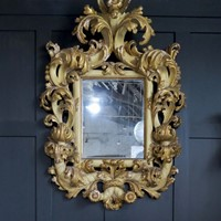 Pair of large gilt wood mirrors, 1700, Italy