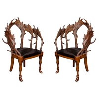 Stylish pair of Fallow Deer Horn Armchairs