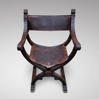 19th C Walnut Leather Folding Dagobert Armchair