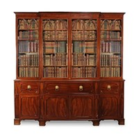 19th C Mahogany Secretaire Breakfront Bookcase