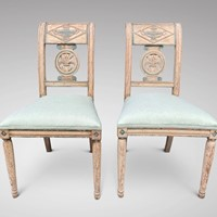 Pair of 19th C painted Directoire Fauteuils