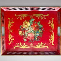 19th C French Napoleon III Red Tole Tray