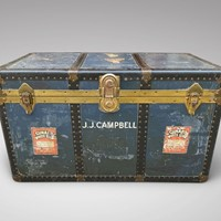 20th C Brass & Metal Bound Travelling Trunk