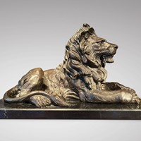 Signed Barye large Lion Bronze Statue