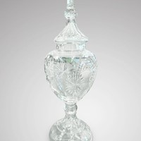 20th C Tall Cut Glass Apothecary Vase