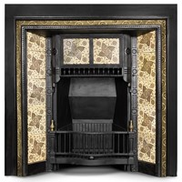 Antique tiled fireplace insert with brass detail