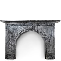 Antique bardiglio marble arched chimneypiece