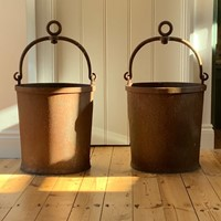 Large pair of antique cast iron buckets