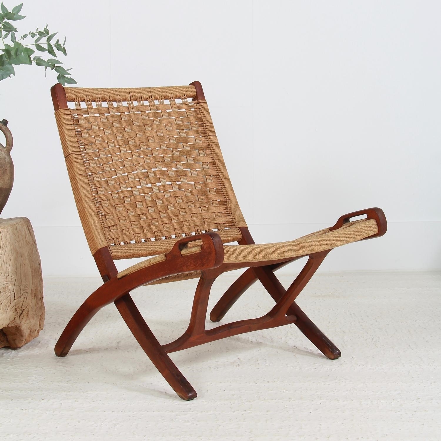 Super Mid Century Hans Wegner Style Folding Rope Chair Ocoug Best Dining Table And Chair Ideas Images Ocougorg