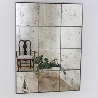Hand Silvered Antiqued Panelled Foxed  Mirror