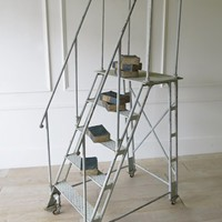 Industrial Iron Library Ladder circa 1900