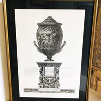 19th c Italian Etching of an Urn - circa 1880