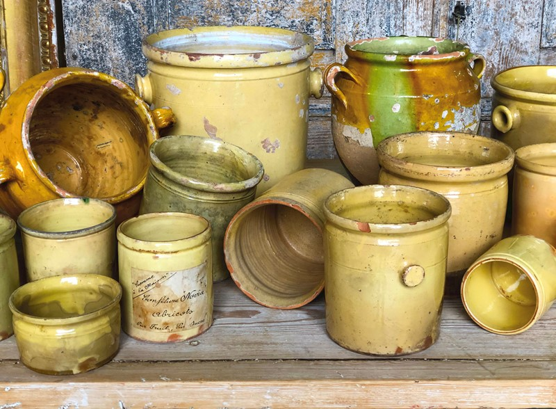3 French Yellow Glazed Jars with handles - c 1830-appley-hoare-groupjars-main-637107312693186646.jpg