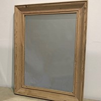 Simple 20th c French moulded pine framed Mirror