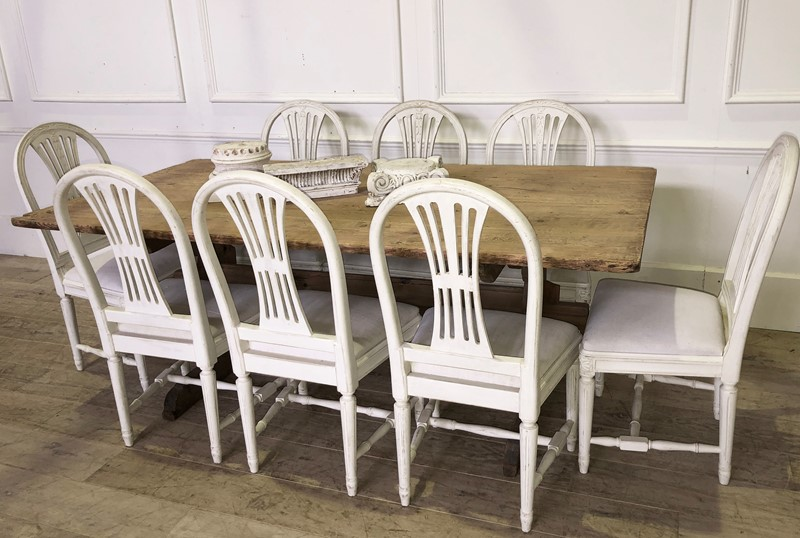 19th century Dining Swedish Pine Table - circa 185-appley-hoare-stretcherbasetable6-main-637079427556127406.jpg