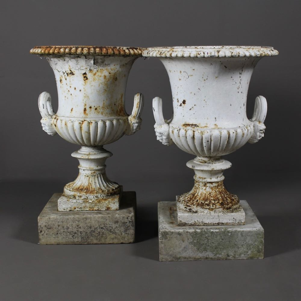 Zoom; Pair Of Handyside Cast Iron Garden Urns Arabesque Antiques Pair 19th