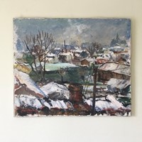 Winter Rooftops Oil On canvas