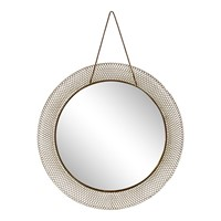 1950s Italian Circular Mesh Mirror with Brass
