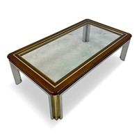 1970s Italian Wood, Brass and Chrome Coffee Table