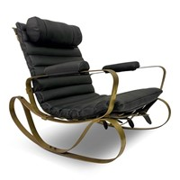 1970s Brass and Black Leather by Luciano Frigerio