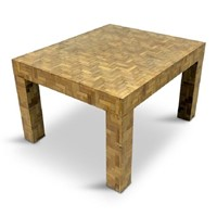 1970s Italian patchwork bamboo coffee table