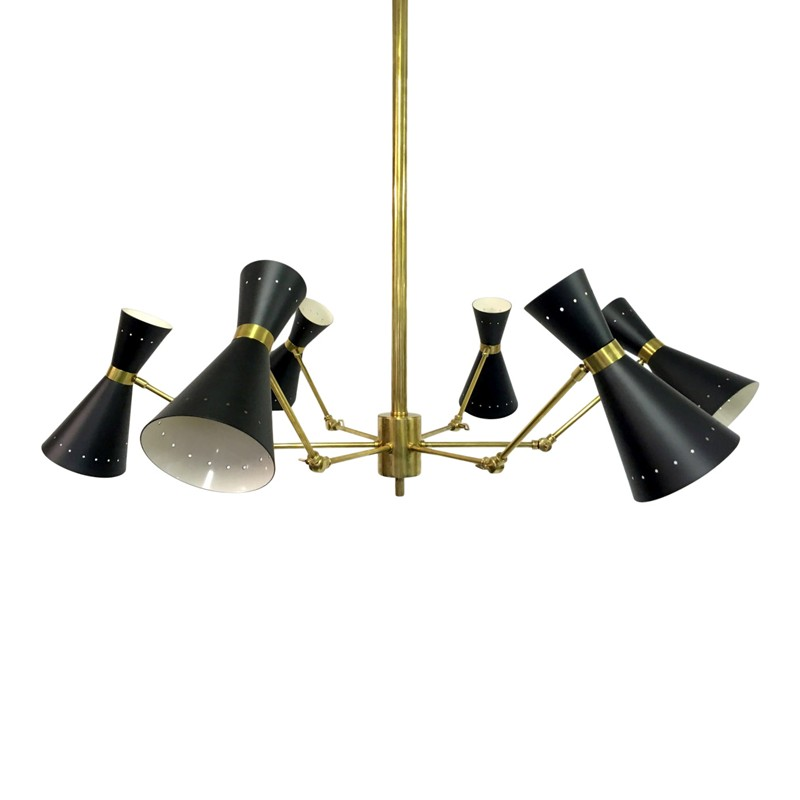 1950s style Italian brass and enamel ceiling light-august-interiors-Italian 1950s style ceiling light chandelier stilnovo-main-636645898883533549.JPG