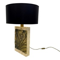 Italian travertine and bronze table lamp