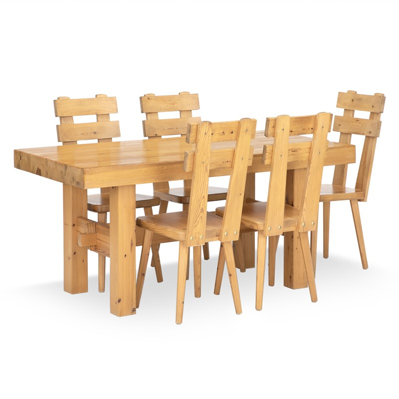 1970s Swedish Pine Dining Table and Chairs-august-interiors-dining-set-of-solid-pine-comprising-a-rec-1-main-637224138753300905.jpg