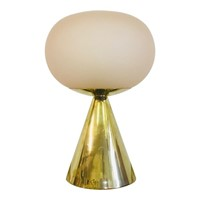 Italian pink glass and brass table lamp