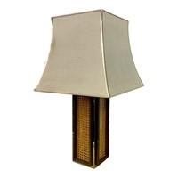 1970s Rattan, Brass and Chrome Table Lamp