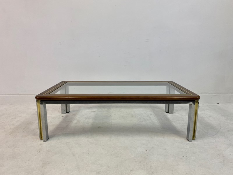 1970s Italian Wood, Brass and Chrome Coffee Table-august-interiors-img-8325-main-637260413777191822.jpeg