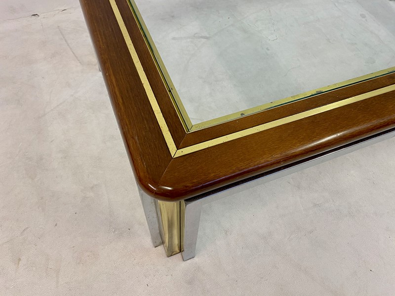 1970s Italian Wood, Brass and Chrome Coffee Table-august-interiors-img-8326-main-637260413853935790.jpeg