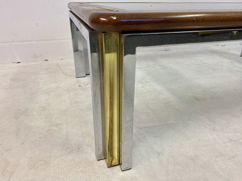 1970s Italian Wood, Brass and Chrome Coffee Table-august-interiors-img-8327-main-637260413945160194.jpeg