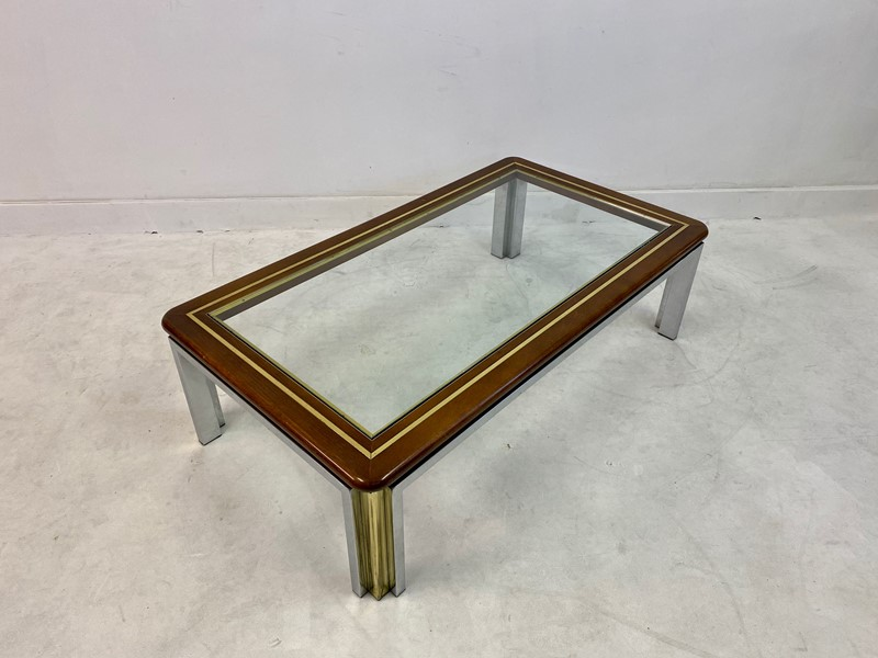 1970s Italian Wood, Brass and Chrome Coffee Table-august-interiors-img-8328-main-637260414054240494.jpeg