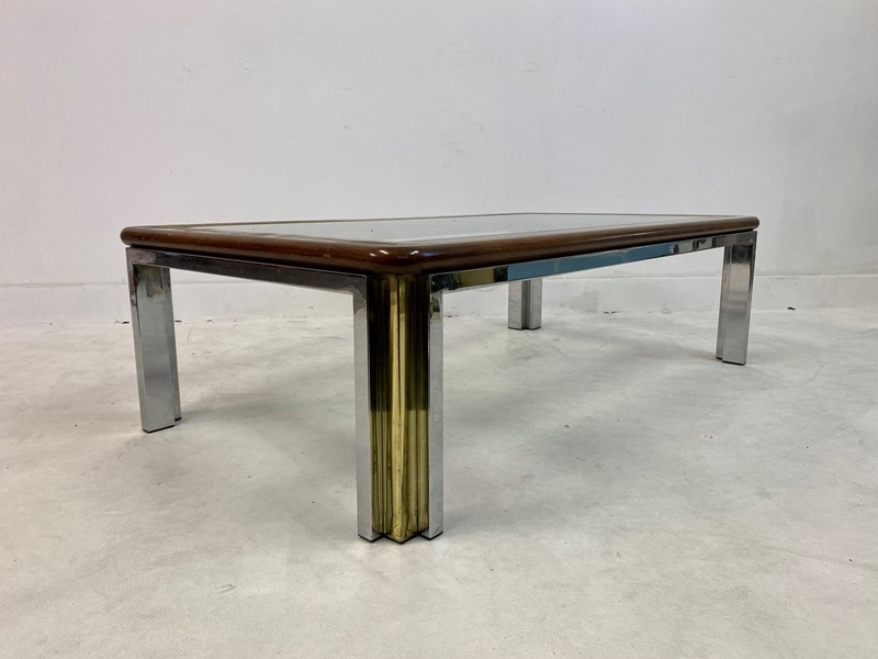 1970s Italian Wood, Brass and Chrome Coffee Table-august-interiors-img-8329-main-637260414185784229.jpeg