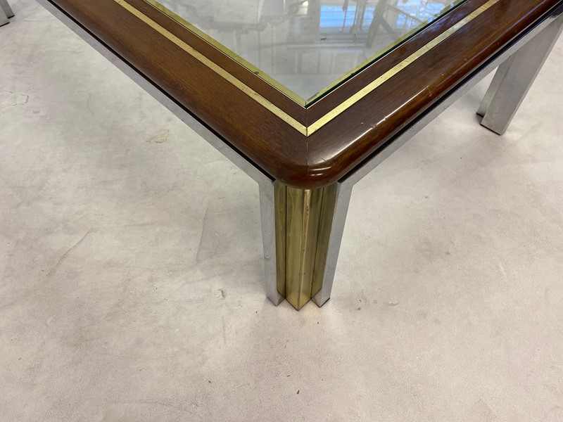 1970s Italian Wood, Brass and Chrome Coffee Table-august-interiors-img-8331-main-637260414364378415.jpeg