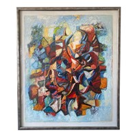Large Abstract Danish Painting on Board