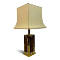 1970s French Brass, Chrome and Leather Table Lamp