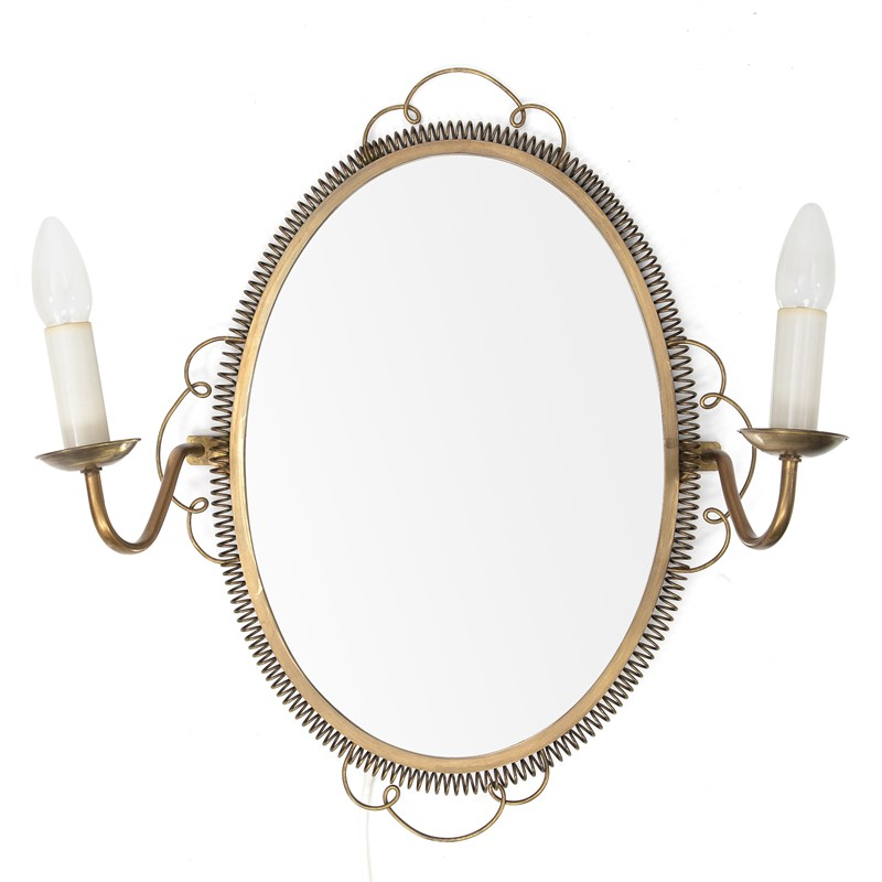 1950s Swedish Brass Mirror with sconces-august-interiors-oval-shaped-brass-mirror-with-a-sconce-on-1-main-637226680623585434.jpg