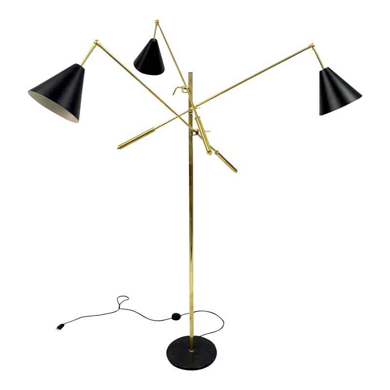 1950s style Italian triennale floor lamp-august-interiors-three arm floor lamp triennale brass enamel-main-636649302763203674.JPG