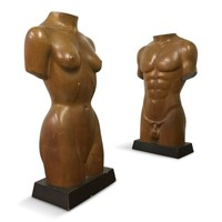 Pair of mid-century torsos of a male and female