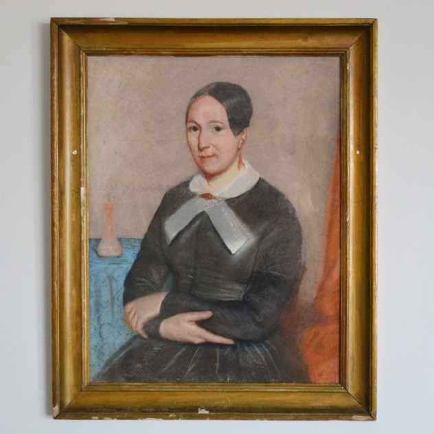 19thC Pastel Portrait, Woman with White Collar-barnstar-Pastel Portrait with White Bow1 _main_636512806252830311.jpg