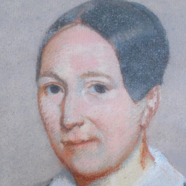 19thC Pastel Portrait, Woman with White Collar-barnstar-Pastel Portrait with White Bow2 _main_636512806435046487.jpg