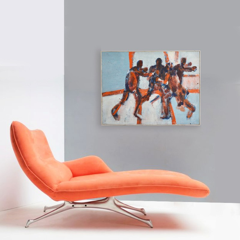 1960's, Large, Expressionist Painting, 'The Game'-barnstar-The Game LIFE NEW-main-636688270768190575.jpg