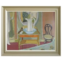 1957, Oil Painting - 'The Washstand,' Eva Holmberg