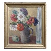Swedish Mid Century Floral Oil Painting