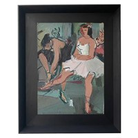 1940's French Ballerina Oil Painting
