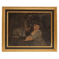 18th Century Oil Painting 'Girl with a Rabbit'