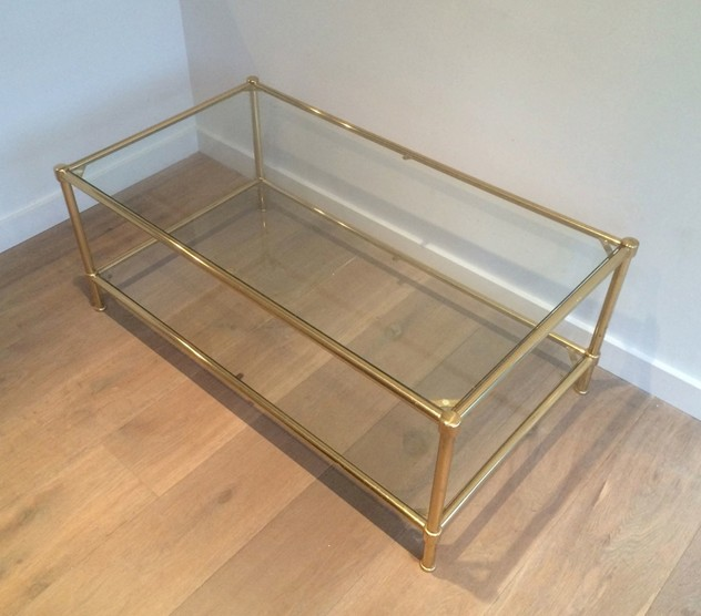 Brass coffee table with round feet. Circa 1960 -barrois-antiques-50's-10539_main_636385248459556354.jpg